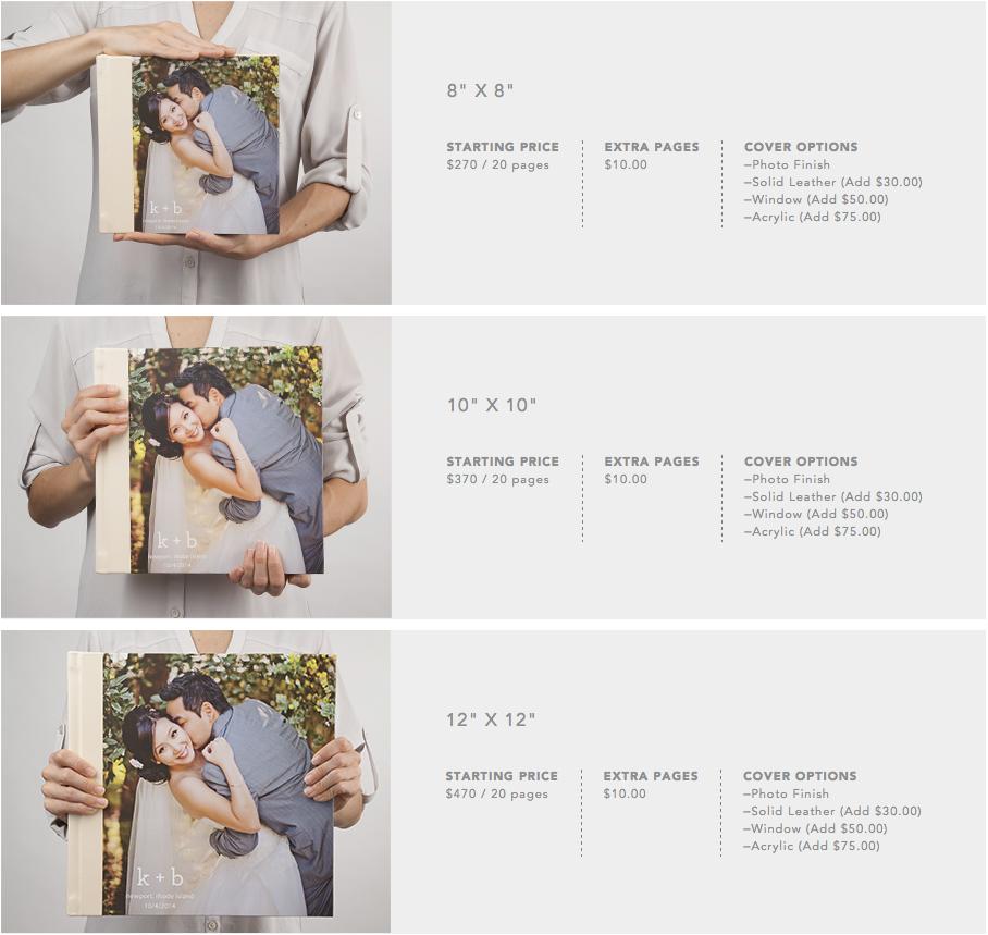 MyPublisher album sizes and prices