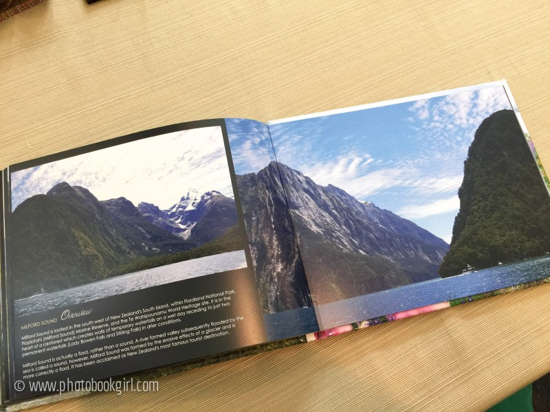 Milford Sound photo book layout