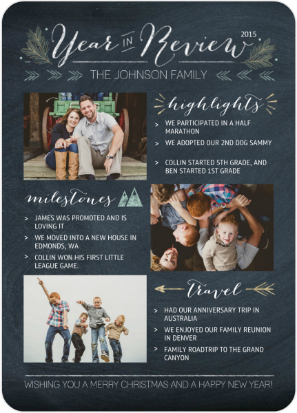 Mixbook Chalkboard Year in Review Card