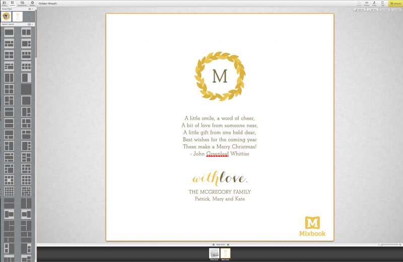 Mixbook custom card designs