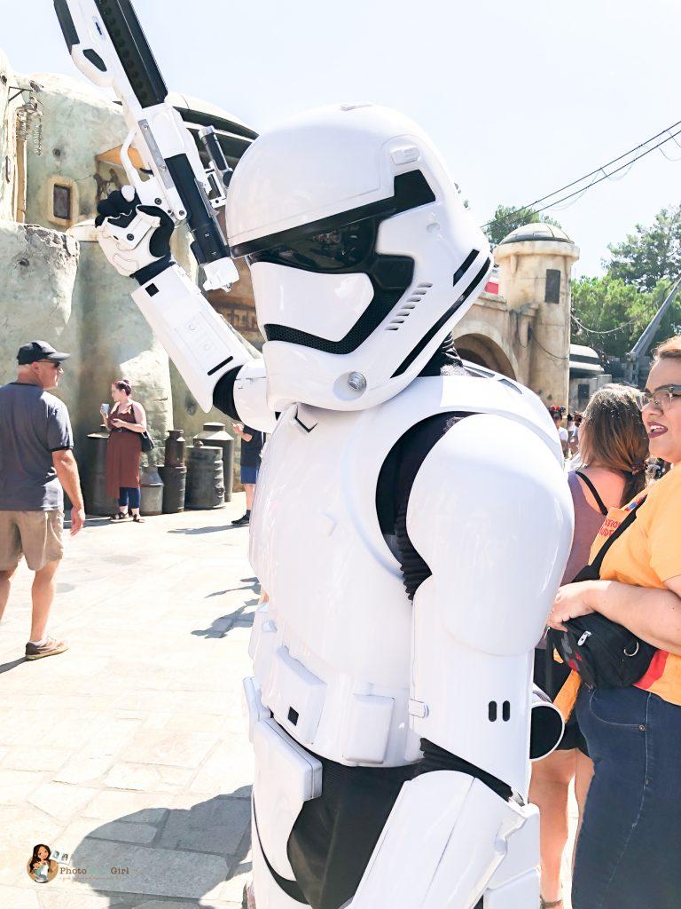 Stormtroopers patroling Galaxy's Edge Disneyland