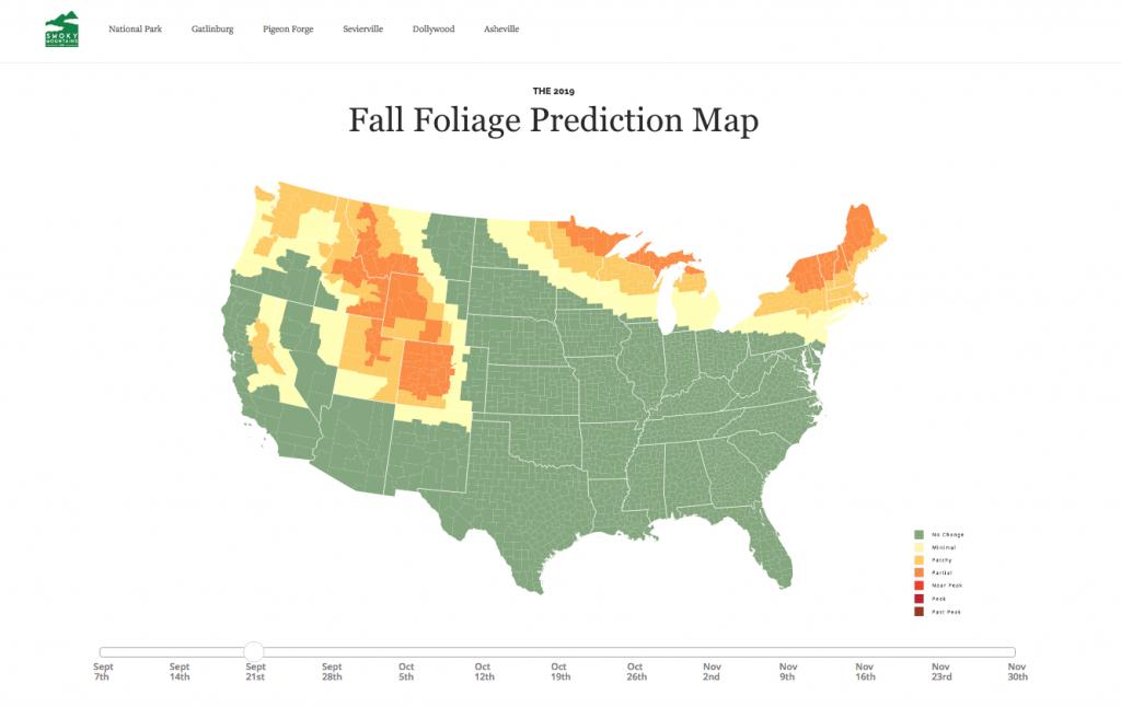 Fall foliage map U.S. 2019