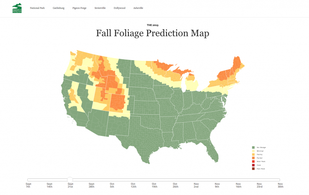Fall foliage map U.S. 2019